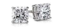 Cushion-Cut Diamond Stud Earrings in 14k White Gold