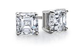 14k 白金上丁方形鑽石釘款耳環