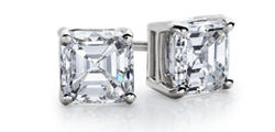 Asscher-Cut Diamond Stud Earrings in 14k White Gold