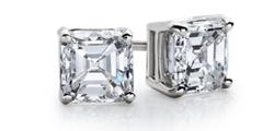 Puces d'oreilles diamant taille Asscher en or blanc 14carats