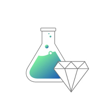 An illustration of a chemistry bottle next to a diamond