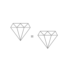 An illustration showing that natural and label grown diamonds are equal.