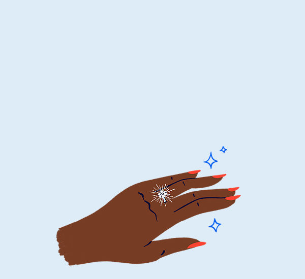 Hand drawn illustration of a sparkling diamond ring on a woman's hand