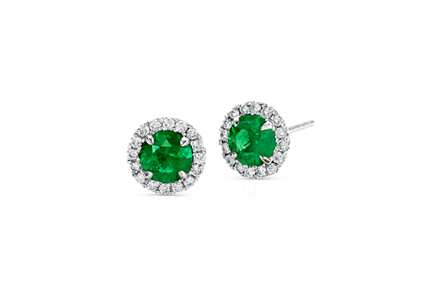 Emerald and Micropavé Diamond Halo Stud Earrings