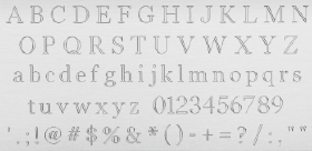 Uppercase and lowercase alphabet, numbers, and special characters in Roman font.