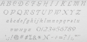 Uppercase and lowercase alphabet, numbers, and special characters in Script font.