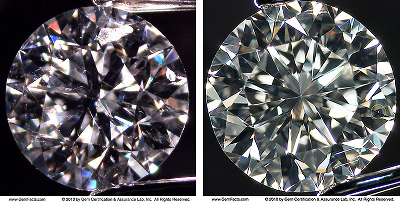 A diamond graded I1 with multiple inclusions versus a Vs1-graded diamond. The small feather inclusion on the right of the stone is the only grade-setting inclusion.