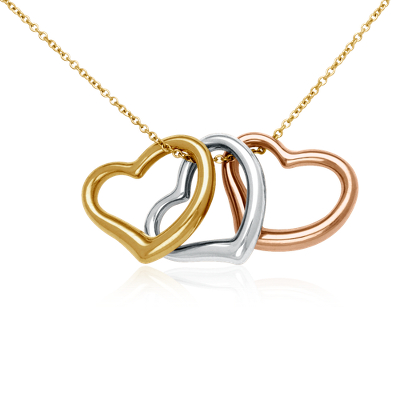 Triple Heart Pendant in 18k Yellow, White, & Rose Gold