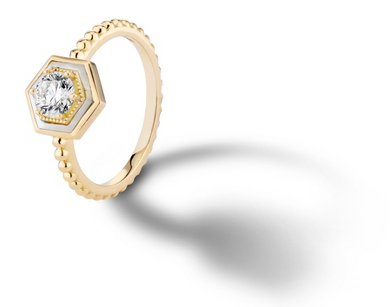 Harwell Godfrey 'You're So Mine' Prong-Set Diamond and Mother-of-Pearl Engagement Ring in 18k Yellow Gold