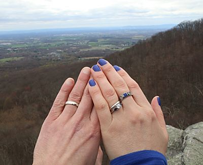 The couple admires their rings with a view of the Maryland countryside in the background.