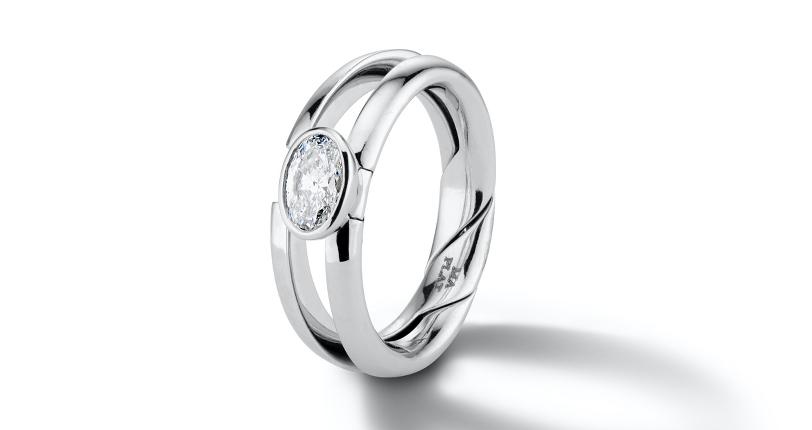 Marla Aaron 'DiMe Siempre' Bezel-Set Diamond Engagement Ring Platinum