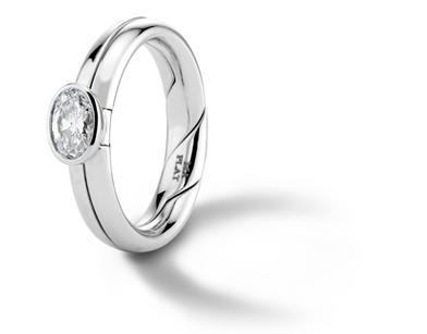 Marla Aaron 'DiMe Siempre' Bezel-Set Diamond Engagement Ring in Platinum