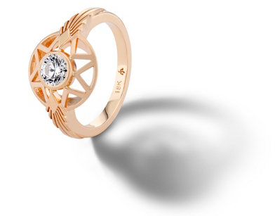 Michelle Fantaci 'Naledi' Bezel-Set Diamond Engagement Ring in 18k Rose Gold