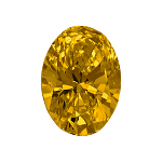 Oval shape diamond with a dark yellow colour