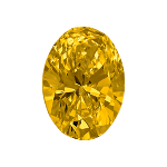 Oval shape diamond with a deep yellow colour