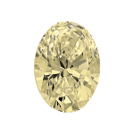 Oval shape diamond with a very light yellow colour
