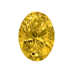 Oval shape diamond with a vivid yellow colour