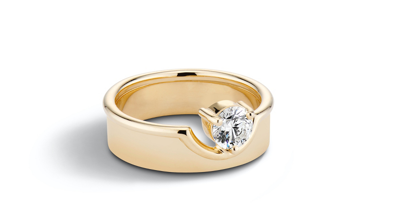 WWAKE 'The Duo Ring' Prong-Set Diamond Engagement Ring 14k Recycled Yellow Gold