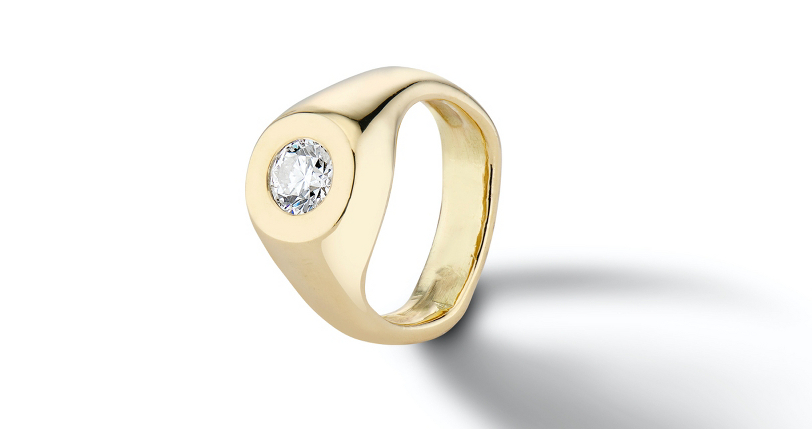 Aurora Lopez Mejia 'Mara' Bezel-Set Diamond Engagement Ring 18k Yellow Gold