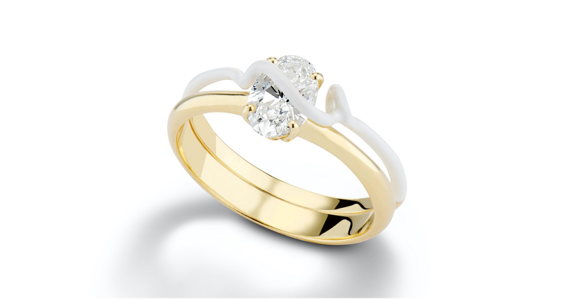 Bea Bongiasca 'You're So Mine' Prong-Set Diamond Engagement Ring Enamel and 18k Yellow Gold