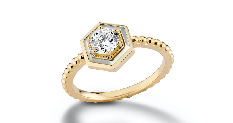 Harwell Godfrey 'Motu' Prong-Set Diamond and Mother-of-Pearl Engagement Ring 18k Yellow Gold