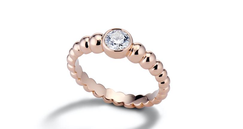 Lola Fenhirst 'The Union' Bezel-Set Diamond Engagement Ring 18k Rose Gold