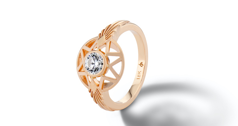 Michelle Fantaci 'Naledi' Bezel-Set Diamond Engagement Ring 18k Rose Gold