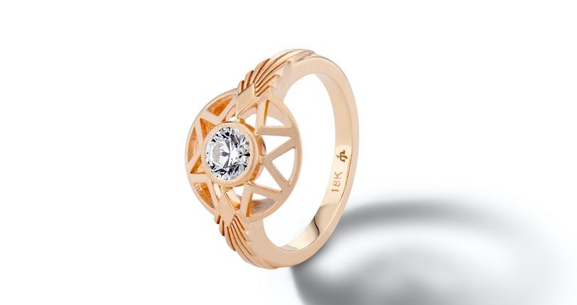 Michelle Fantaci 'Naledi' Bezel-Set Diamond Engagement Ring 18k Rose Gold