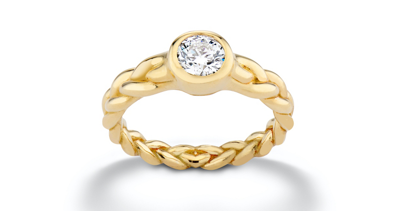 Pamela Love 'Treccia' Bezel-Set Diamond Engagement 18k Yellow Gold