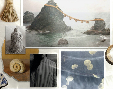 The designer's mood board with ancient symbols as inspiration