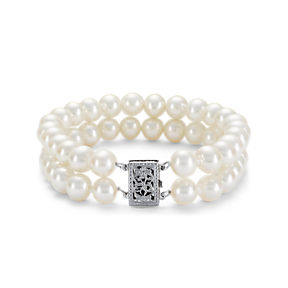 Double-strand white freshwater cultured pearl with a 14k white gold filigree clasp.