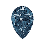 Pear shape diamond with a dark blue color