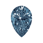 Pear shape diamond with a deep blue color