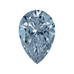 Pear shape diamond with a vivid blue color