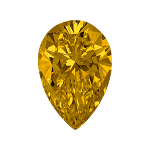 Pear shape diamond with a dark yellow colour