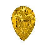 Pear shape diamond with a deep yellow colour