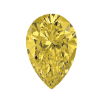Pear shape diamond with a fancy yellow colour