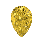 Pear shape diamond selected with a intense yellow colour