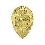 Pear shape diamond with a light yellow colour