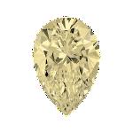 Pear shape diamond with a very light yellow colour