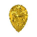 Pear shape diamond with a vivid yellow colour