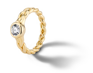 Pamela Love 'Treccia' Bezel-Set Diamond Engagement Ring in 18k Yellow Gold