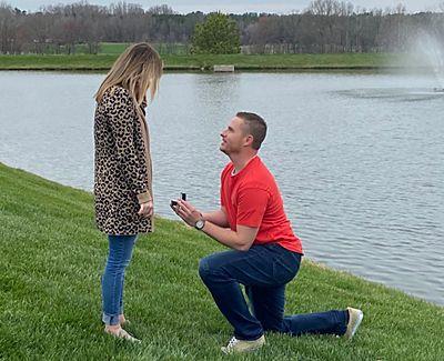 Drew on one knee proposing