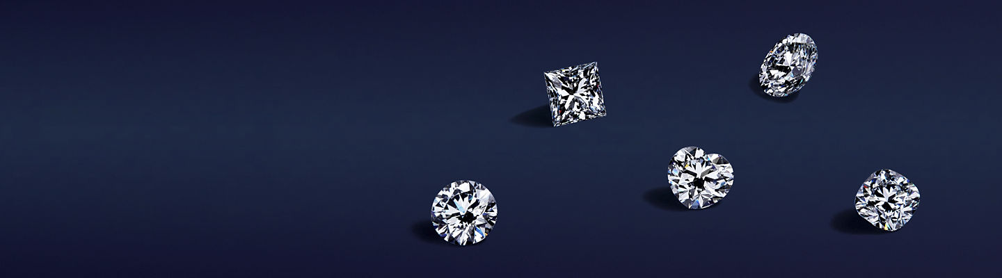 An assortment of loose diamonds