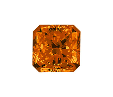 0.50-Carat Deep Yellowish Orange Radiant Cut Diamond