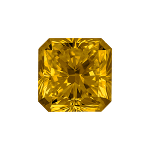 Radiant shape diamond with a dark yellow colour