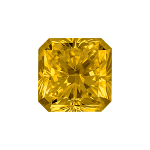 Radiant shape diamond with a deep yellow colour