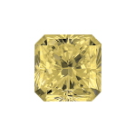 Radiant shape diamond with a light yellow colour