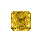 Radiant shape diamond with a vivid yellow colour