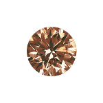 Round shape diamond with a deep brown color